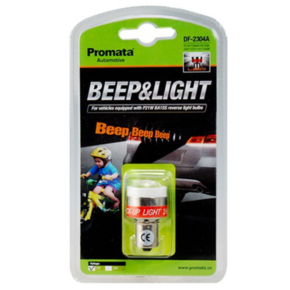 Car Back-Up Alert Beep Light 12V LED Reverse Alarm Bulb Light Beeper Buzzer  Lights Emits Beep Sound for Universal Automotive