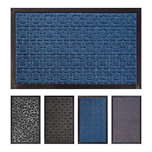 FCSDETAIL Alfombrilla para Puerta Interior y Exterior, Felpudo de Entrada Antideslizante de Facil Limpieza con Respaldo de Goma para Puerta Delantera, Piso Interior (45x75 cm, Laberinto Azul)