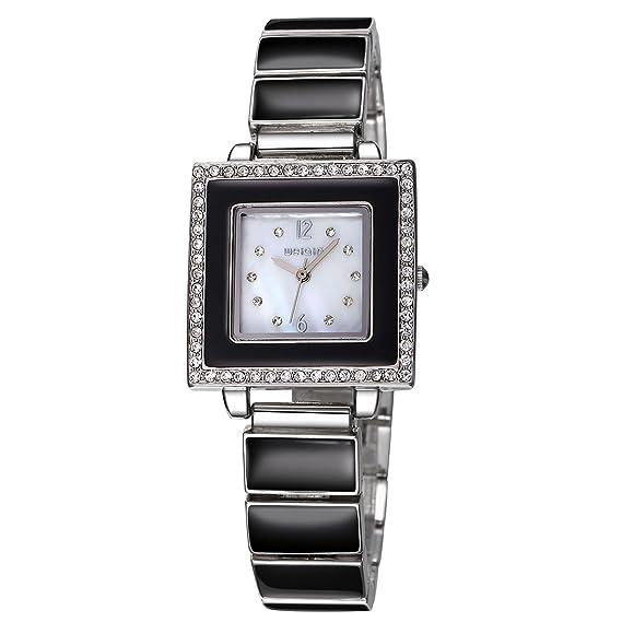 Weiqin Blanco Cuadrado Reloj de mujer, 25 horas de pulsera Relojes Mujer Vestido de cuarzo