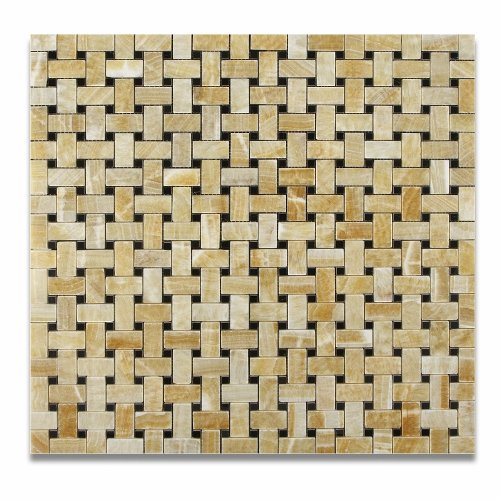 Honey Onyx Polished Basketweave Mosaic Tile w/ Black Dots - Lot of 50 sq. ft. by Oracle Tile & Stone (Image #3)