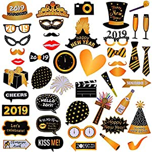 Amazon.com: LeeSky 46Pcs 2019 New Year's Eve Photo Booth ...
