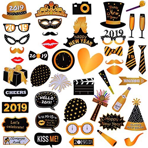 LeeSky 46Pcs 2019 New Year's Eve Photo Booth Props Party Supplies Decorations