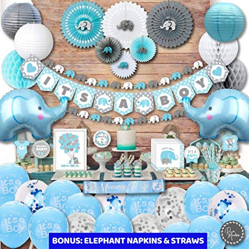 Baby Shower Party Theme (Premium JUMBO Elephant Baby Shower Decorations for Boys Kit | It's A BOY | Banner, Napkins, Straws, Paper Lanterns, Honeycomb Balls, Fans, Cake Toppers, Sash, Balloons | Blue Grey)