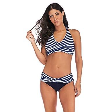 8a6765b53e Wellwits Women's Petite Plus Size Stripes Wrap Halter Two Piece Bikini  Swimsuit: Amazon.in: Clothing & Accessories
