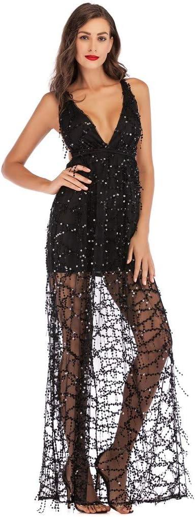 YWLINK damska sukienka z wiązaniem na szyi, elegancka, bez plecÓw, bez ramion, cekinÓw, koktajlowa, wieczorowa, o wysokim kroju: Odzież