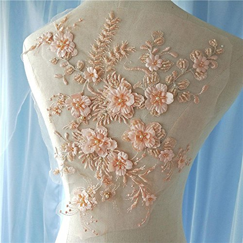 - Exquisite Beading Flower Lace Applique Embroideried Beaded Floral Patch Motif for Wedding Dress Bridal Ballgown Nude Pink Color