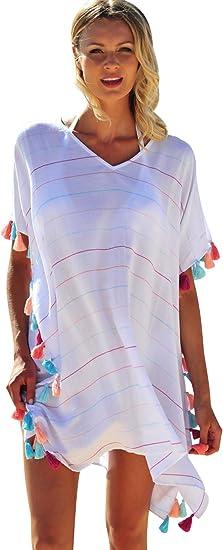 Robe De Plage Femme Boheme Courte Tunique Tenue Caftan De Plage Maillot De Bain Bikini Cover Up Frange Kaftan Sortie De Plage Chemise Robes De Plages Legere Fluide Grande Taille Ete Blanc