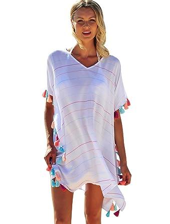 Vestido Playa Mujer Vestidos Pareos Playeros Cuello V Boho ...