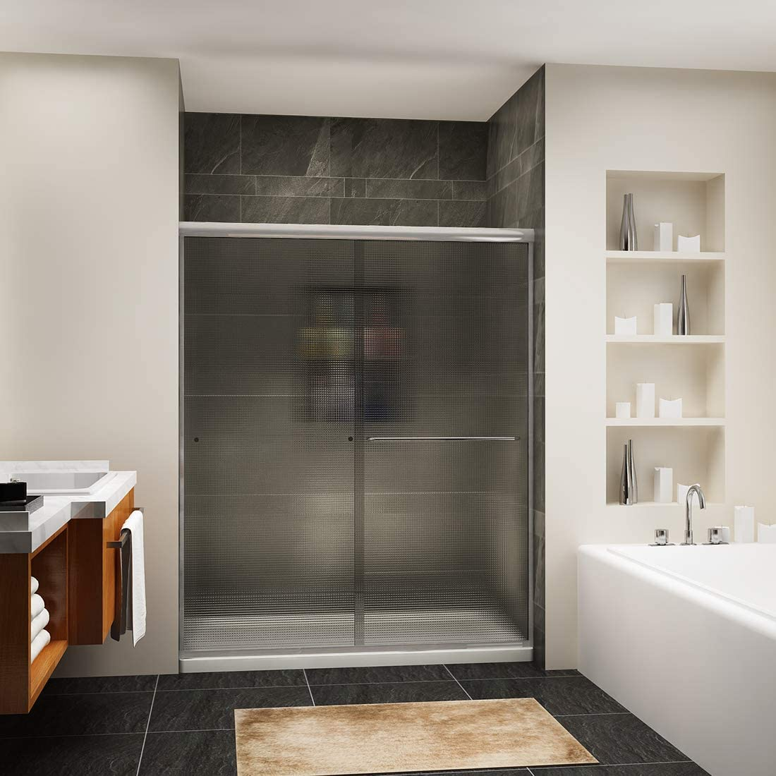 SUNNY SHOWER Semi-Frameless Shower Door, 60 in W x 72 in. H Bathroom 2 Sliding Door, 1 4 inch Frosted Glass, Brushed Nickel Finish