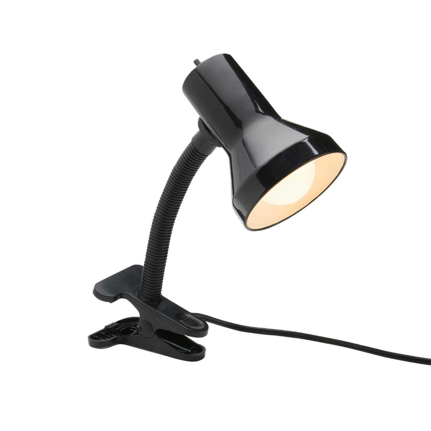 Xtricity Desk Lamp with Clamp Base and Adjustable Gooseneck, 7W A19 LED Bulb Included, 120 Volt, Convenient On Off Switch, 10.25 inches Tall 26cm , Black Finish