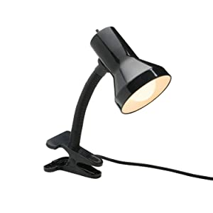 Xtricity Desk Lamp with Clamp Base and Adjustable Gooseneck, 7W A19 LED Bulb Included, 120 Volt, Convenient On/Off Switch, 10.25 inches Tall (26cm), Black Finish