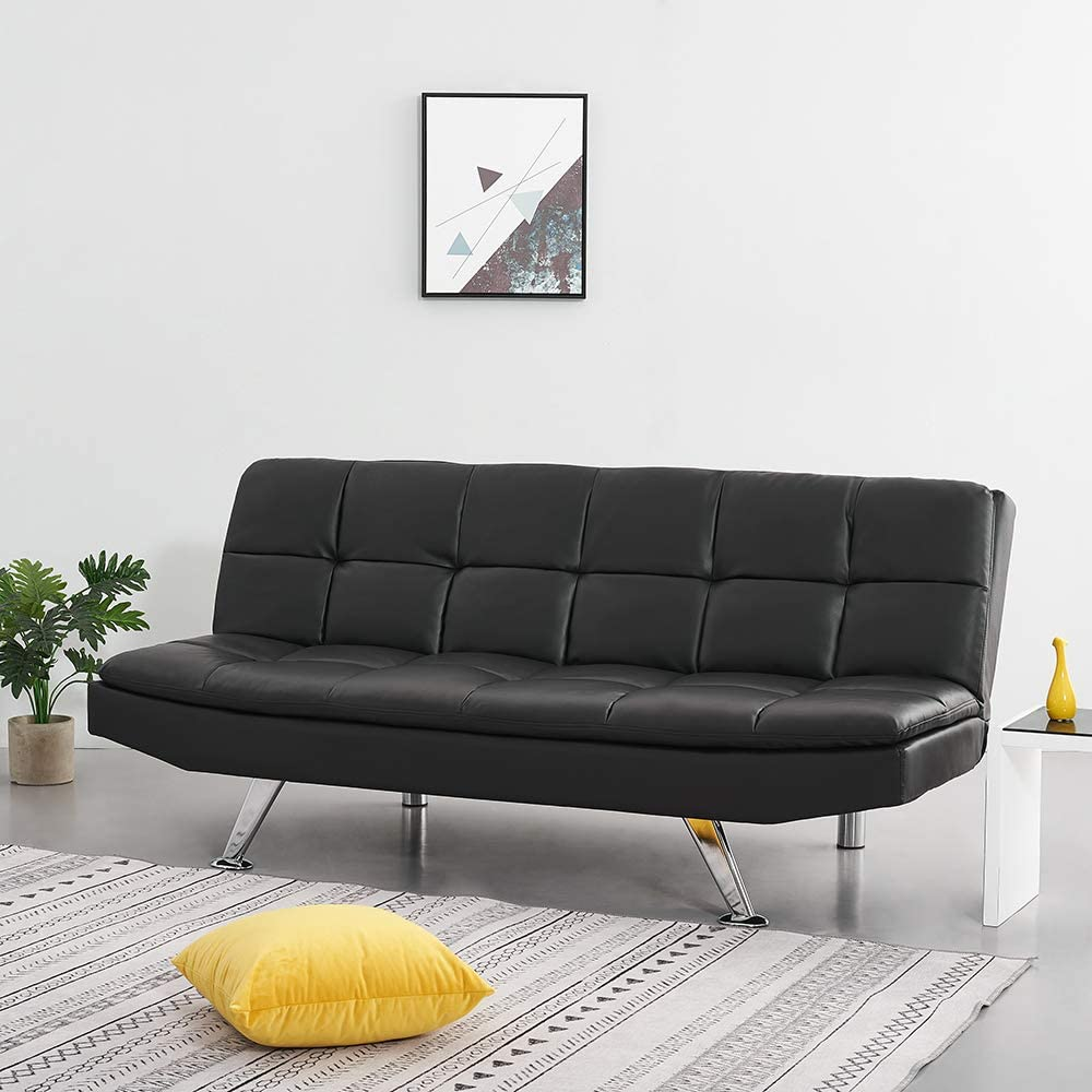 Panana Faux Leather 3 Seater Sofa Bed Modern Corner Couch Settee for Lounge Living Room Click Clack Mechanism Black