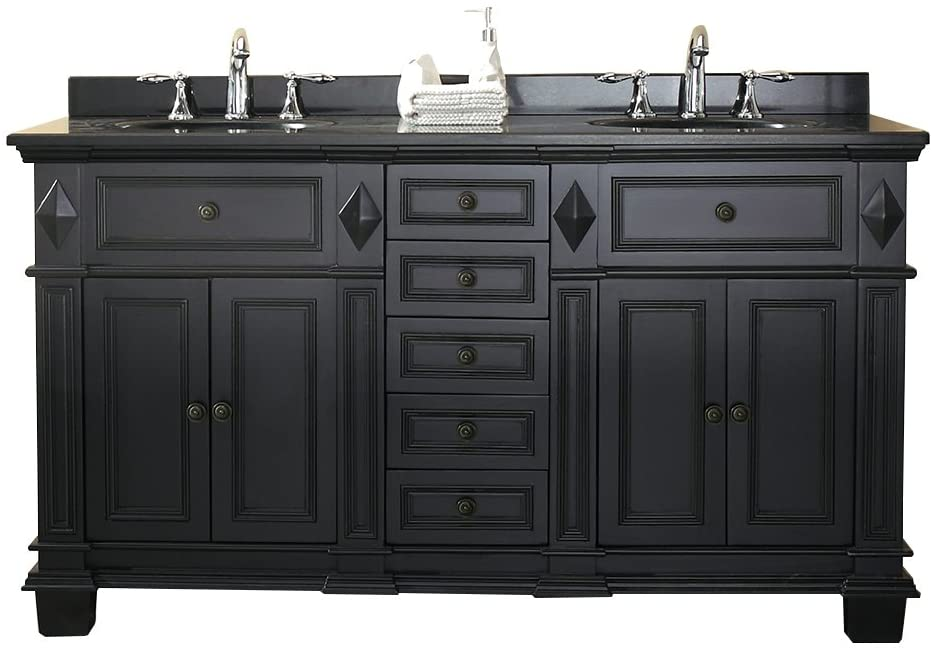 Ove Decors Essex 60 Vanity In Antique Black with Black Granite Vanity Top White Basin