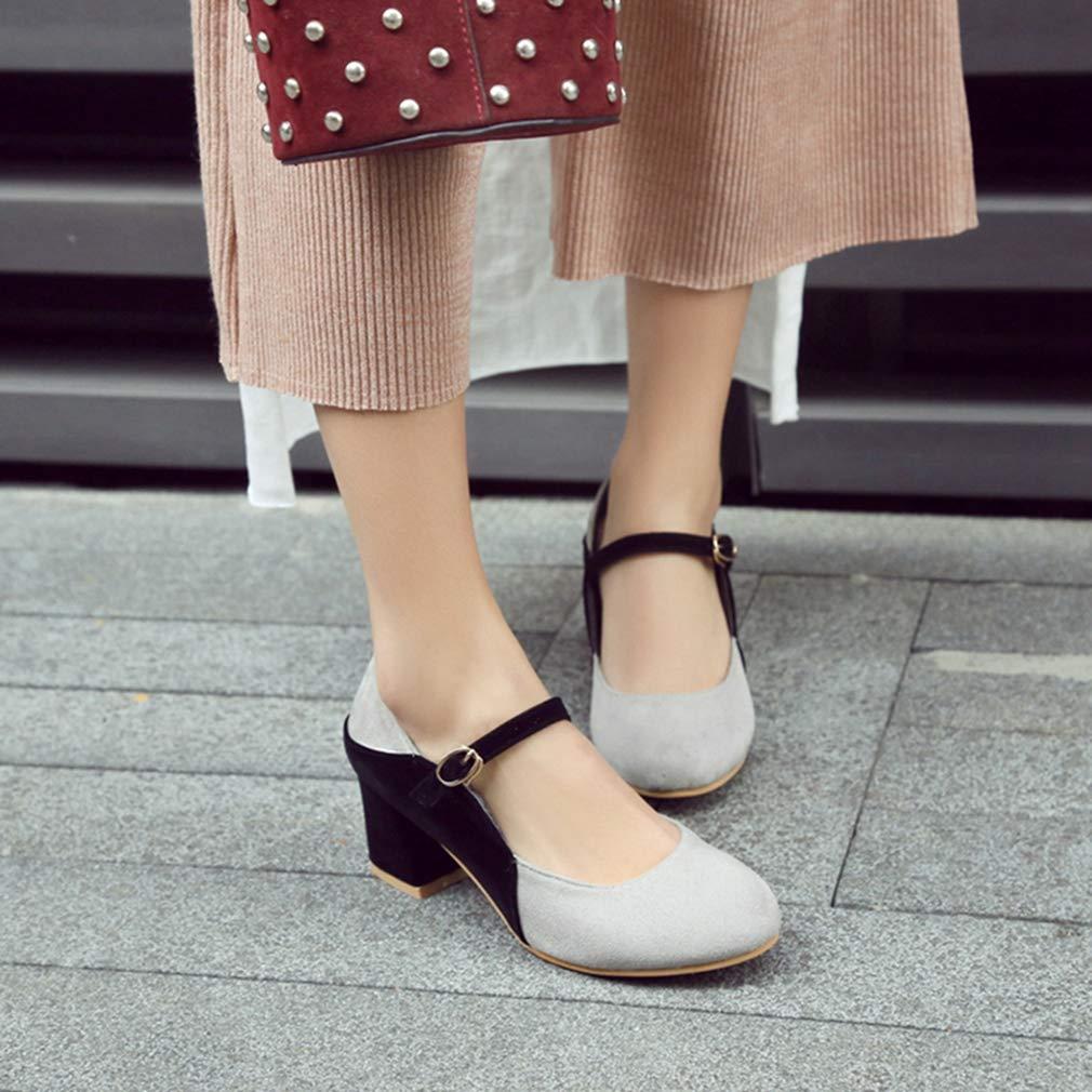 GIY GIY GIY Women's Retro Mary Jane Oxfords Shoes Suede Round Toe Buckle Strap Chunky Block High Heel Classic Pump B07H8CL5GZ 4 B(M) US =22cm/8.66