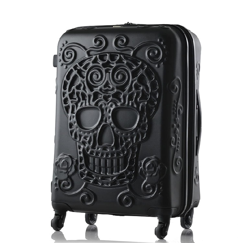 Luggage Embossed Skull Black Travel Trolley Abs