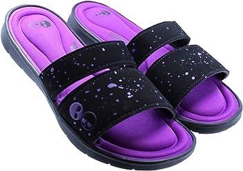Womens Memory Foam Black and Purple Slide Sandal