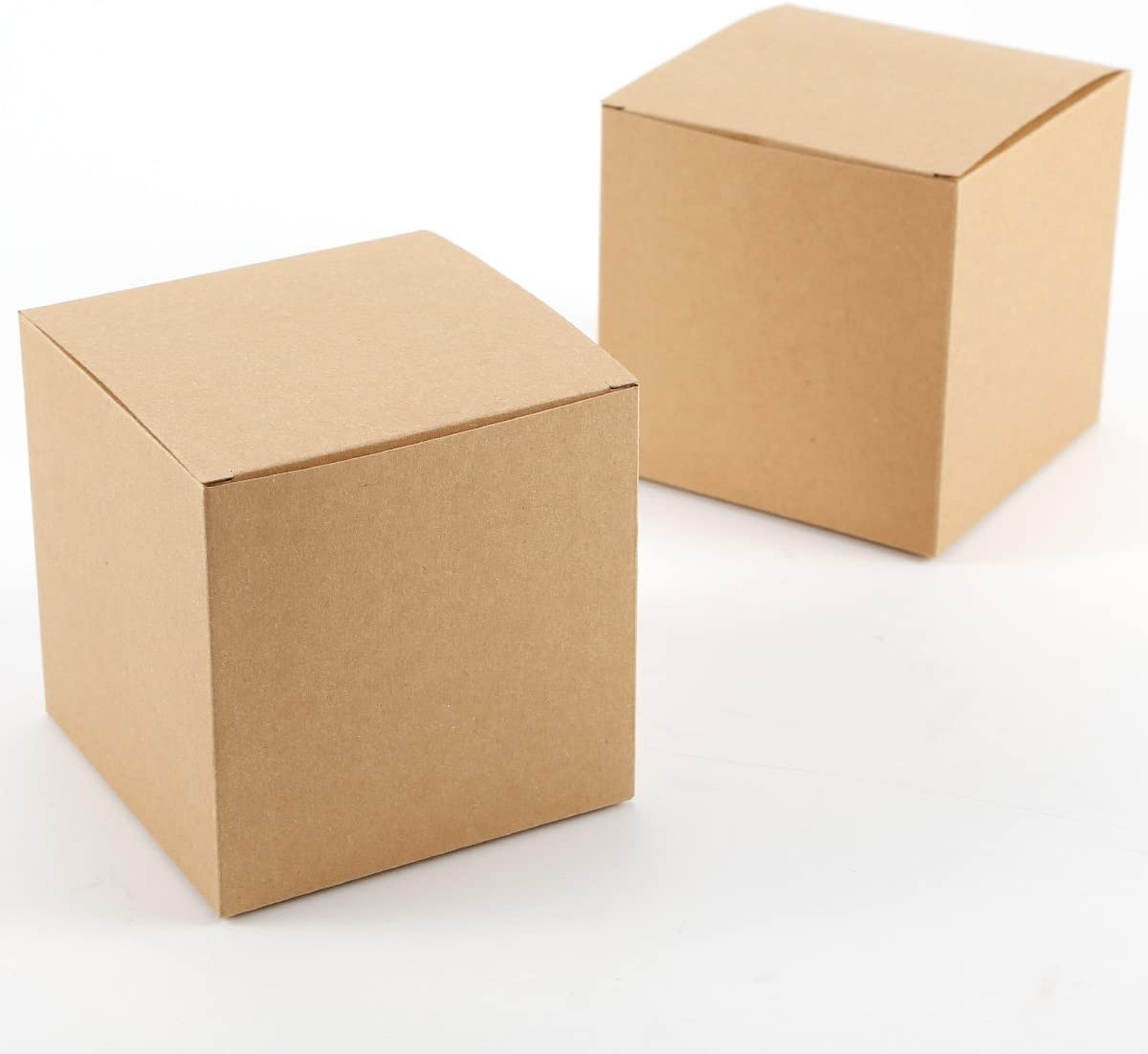 Set de 50 Cajas para dulces bombones Caja kraft de boda regalo Rútico 10x10x10cm Cajita de cuadro Grande Kraft Paper