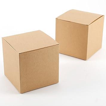 CLE DE TOUS - Set de 50 Cajas para dulces bombones Caja kraft de boda regalo Rústico 10x10x10cm Cajita de cuadro Grande Kraft Paper: Amazon.es: Hogar