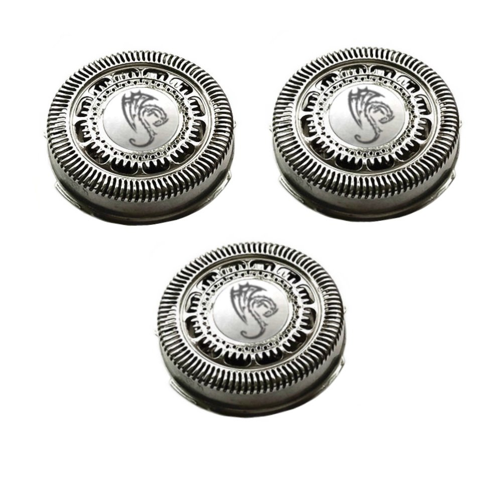 SH90 Replacement Heads Set of 3 Silver Dragon Universal Smooth Surface Precision Blades for Philips Norelco Compatible Electric Shaver S9000 SERIES:S9911 S9731 S9711 S9511 S9111 S9031