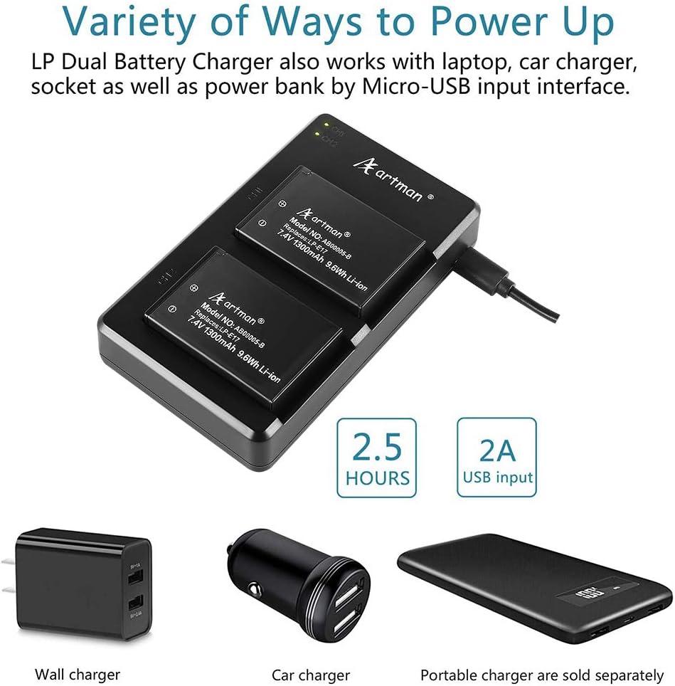 Artman 2 Pack LP-E17 Battery and Rapid Dual Micro USB Charger for Canon Rebel SL2, T6i, T6s, T7i, EOS M3, M5, M6, EOS 200D, 77D, 750D, 760D, 800D, ...