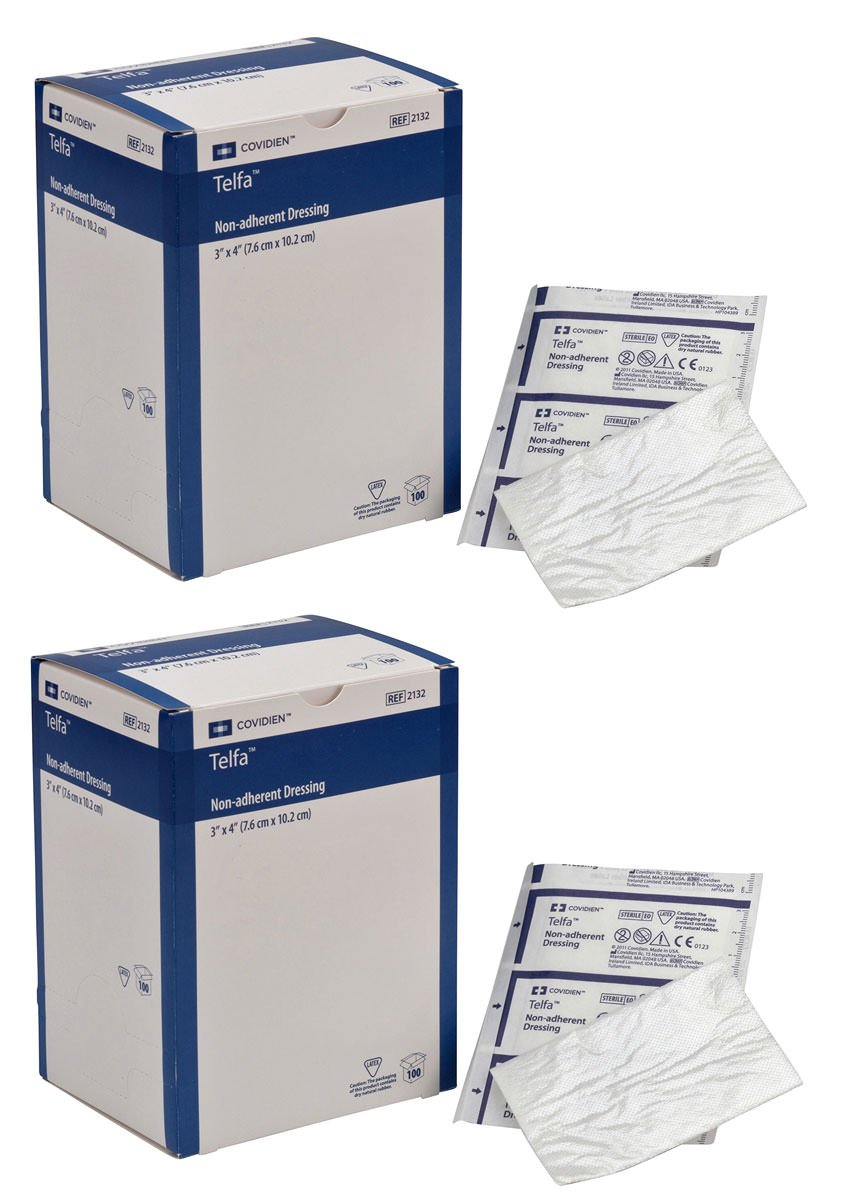 COVIDIEN GSGSSGGS 2132 Telfa Non-Adherent Dressing, 3'' x 4'' (Pack of 100) (2 Pack)