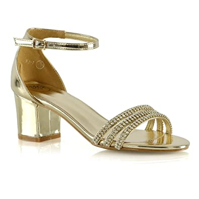 b924bc44809 ESSEX GLAM Womens Ankle Strap Heels Gold Metallic Low Heel Diamante Strap  Sandals 5 B(