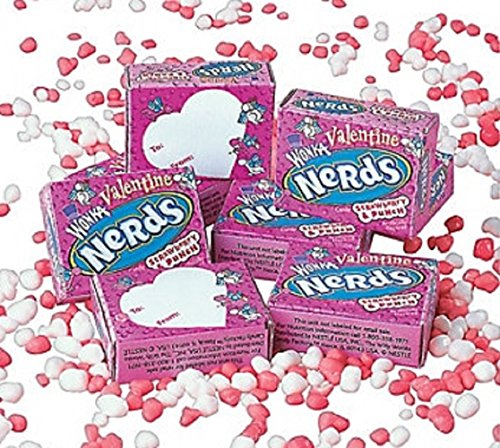 36 Treat Size Boxes Wonka Valentine Nerds – Strawberry/Punch 1.16 lb bag