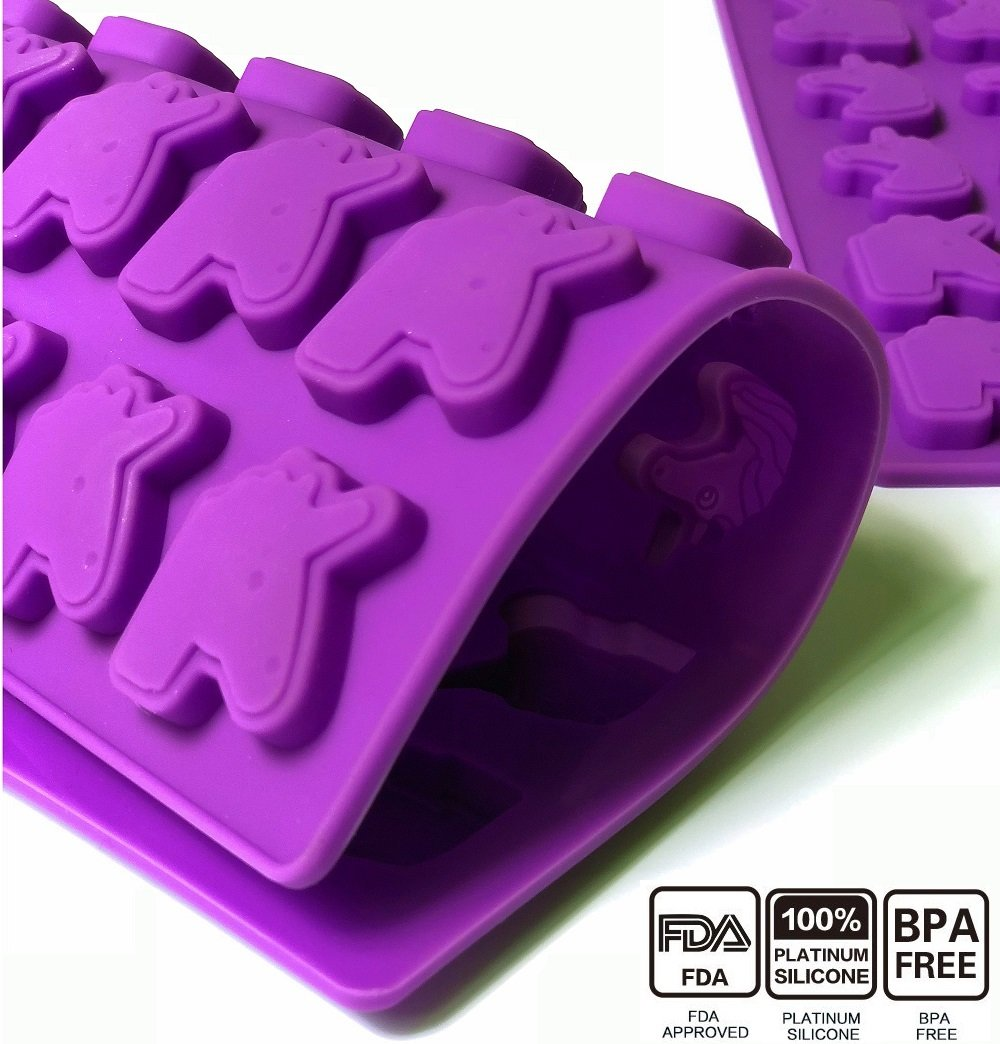 36 Cavity Gummy Unicorn Molds Candy Molds Gumdrop Jelly Molds Chocolate Molds Gelatin Molds Ice Tray Cupcake Toppers Decoration Molds(Dropper Included)