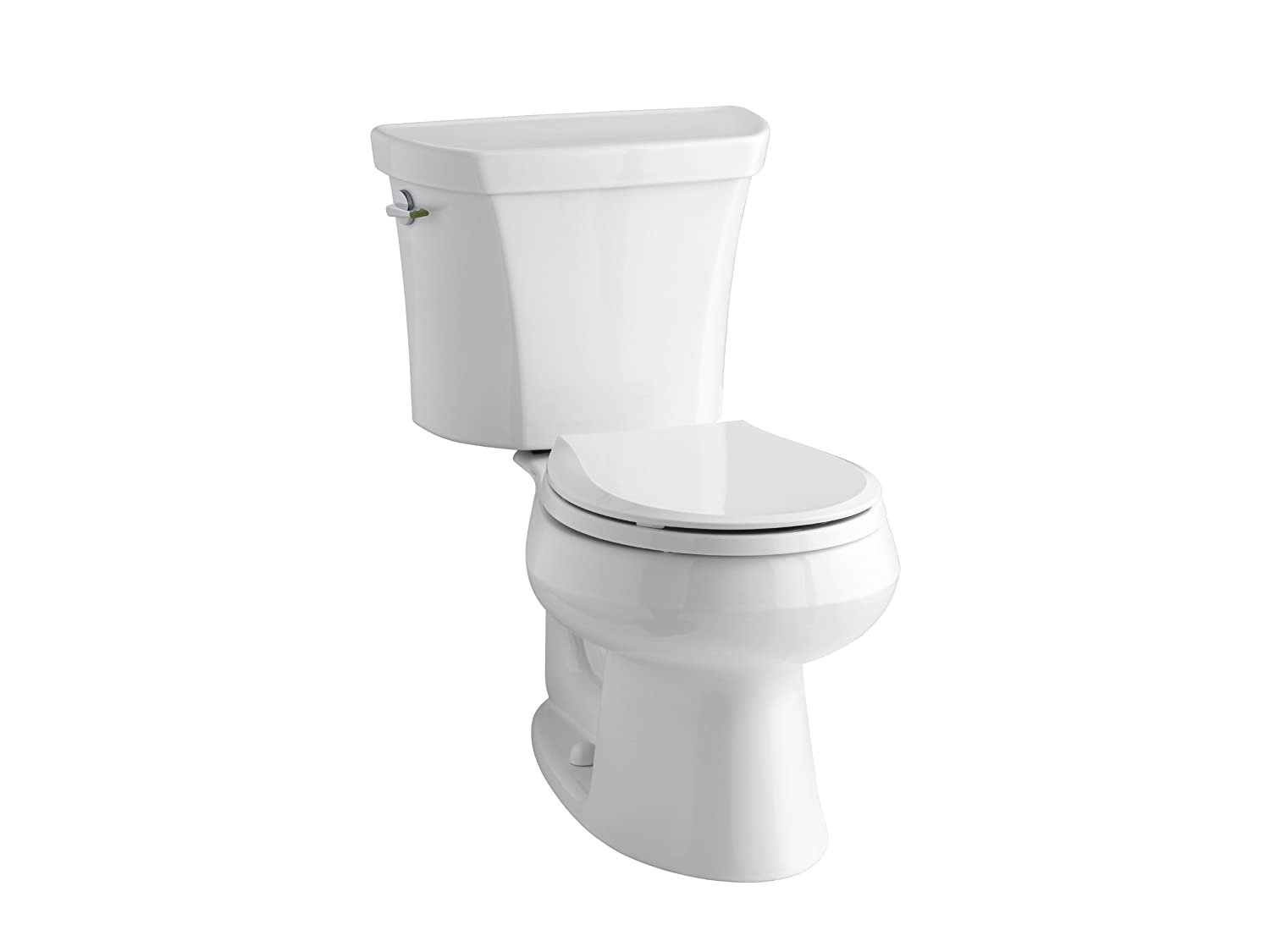 KOHLER K-3987-0 Wellworth Two-Piece Round-Front Dual-Flush Toilet with Class Five Flush System and Left-Hand Trip Lever