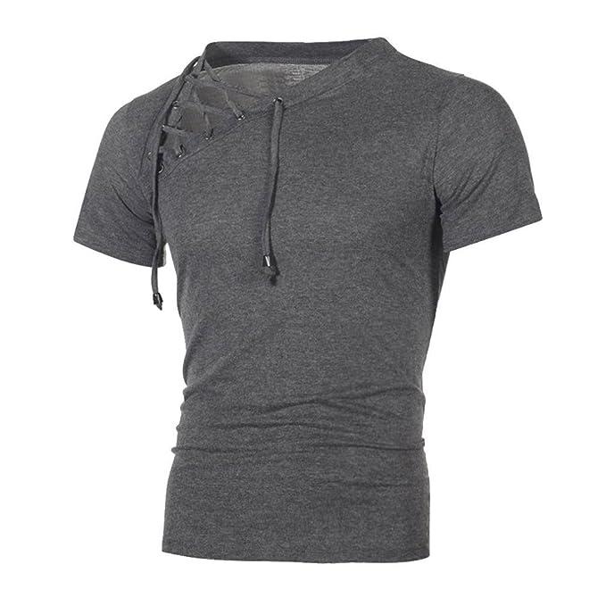 Herren T-Shirt Herren Mode Sommer T-Shirts Mode Männer Slim Fit Hemden  Kurzarmhemd mit Knopf Einfarbig Sommer-Oberteile Freizeit Hemd Modern  Rundhals ... bfcc80e124