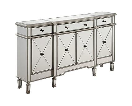 Elegant Lighting 3 Drawer 4 Door Cabinet In Silver Clear 60u0026quot; ...