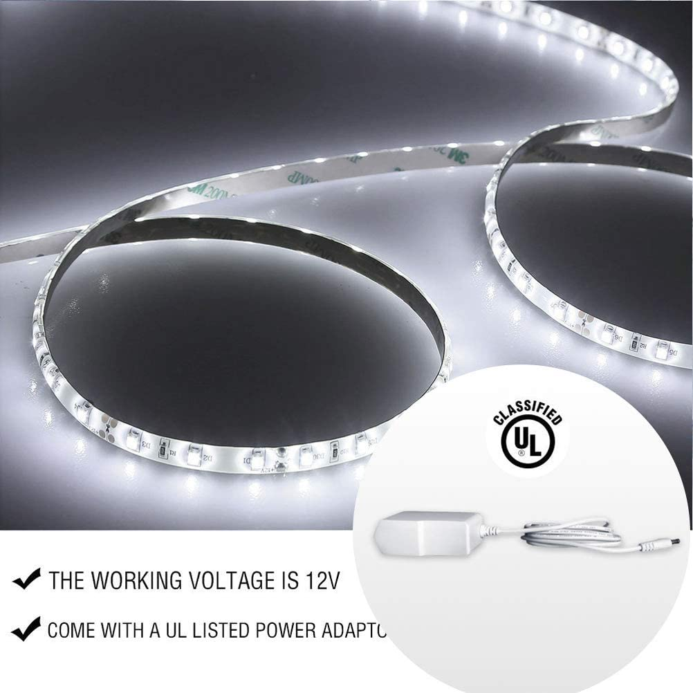 iMENOU Dimmable Led Strip Lights Kit Vanity Makeup Mirror Lights Under Cabinet Closet Light Daylight White LED Ribbon Lights with UL Listed Power Supply 12V for Home Decoration 16.4feet//5m