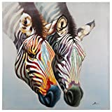 Yosemite Home Decor ARTAAA0472 Zebras in Color Portrait Painting