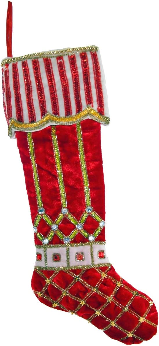Katherines Collection Red Holly Scroll Stocking