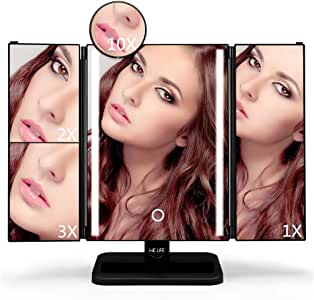 WELife LED Makeup Mirror with 2X,3X,10X Magnifying,180°Adjustable Rotation,Touch Screen Control brightness, Portable Compact Travel Tri-fold Vanity Countertop Cosmetic Mirror (Black)