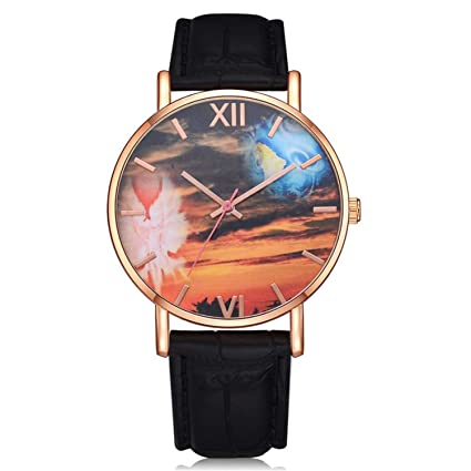 naivety Womens Casual Quartz Leather Watch Vintage Ladies Analog Wrist Watches Casual Rose Gold Clock Relojes