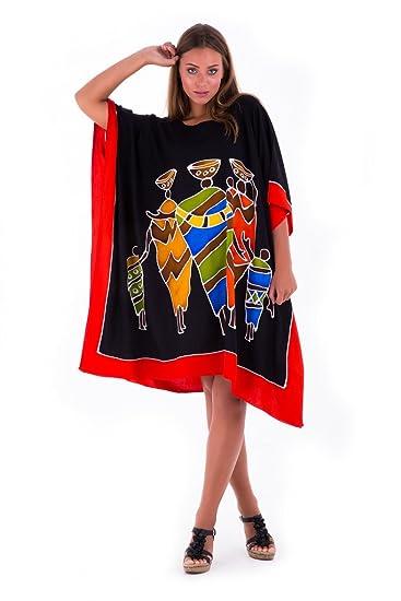 0970d0333f06b SHU-SHI Womens Short Caftan Poncho Tribal Tunic Swimwear Cover Up Black