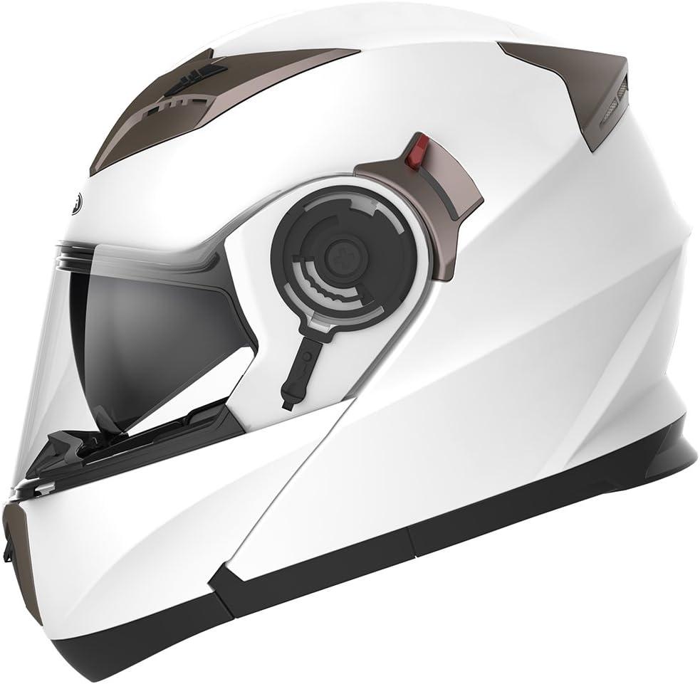 Casco Moto Modular ECE Homologado - YEMA YM-925 Casco de Moto Integral Scooter para Mujer Hombre Adultos con Doble Visera-Blanco-M
