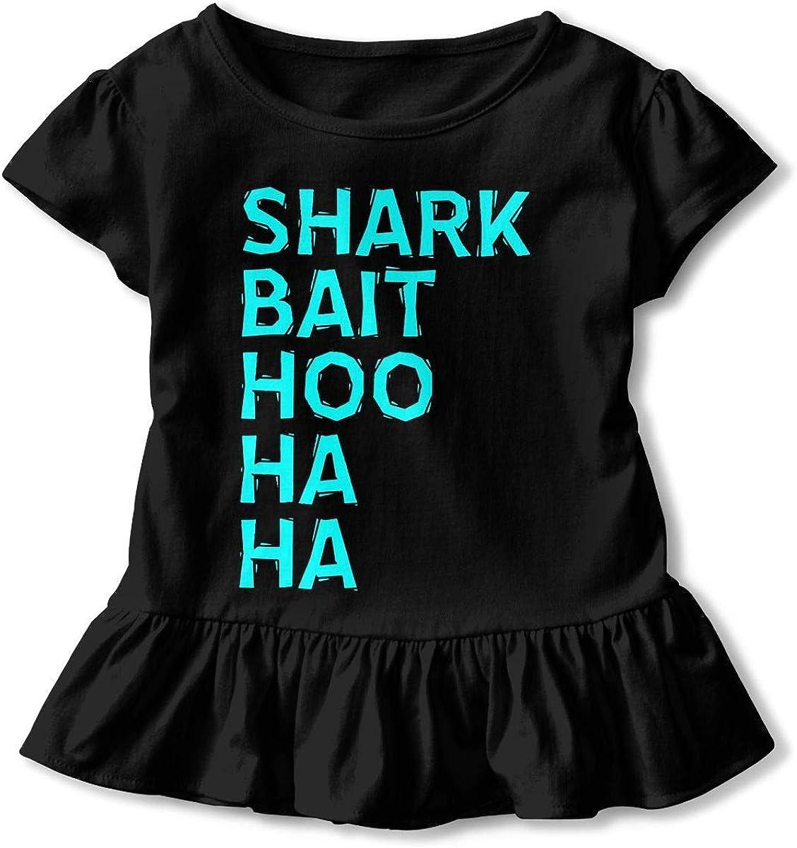 Girls Short Sleeve Shark Bait Hoo Ha Ha T-Shirts, Ruffled Blouse Clothes with Flounces, 2-6T