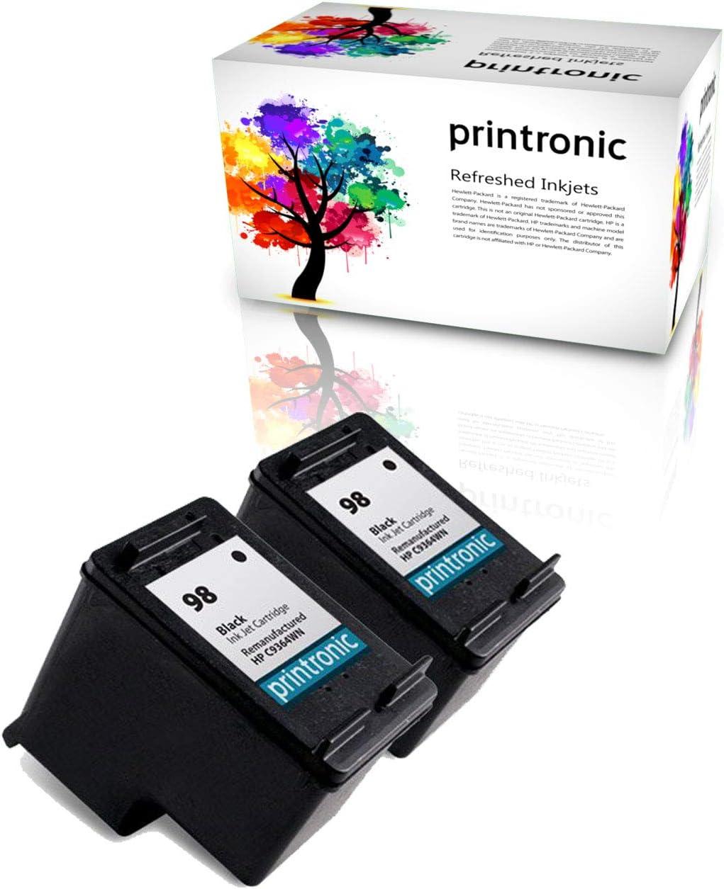 Printronic Remanufactured Ink Cartridge Replacement for HP 98 for DeskJet D4145 OfficeJet H470 6310 PhotoSmart C4100 D5060 (2 Black)