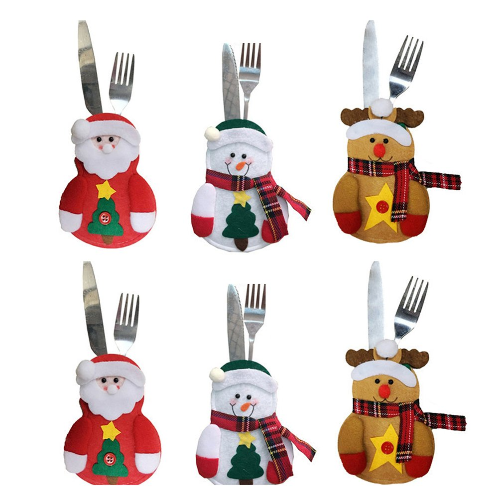 BESTOYARD Christmas Tableware Holder Silverware Holders Pockets Knifes Forks Bag Snowman Santa Claus Elk Decor for Xmas Dinner Table Decorations 6pcs