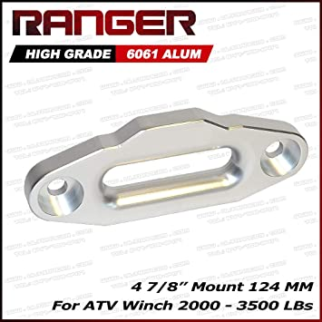 124MM Ranger ATV Aluminum Hawse Fairlead for Synthetic Winch Rope Cable Lead Guide for 2000-3500 LBs ATV Winch 4 7//8 Mount