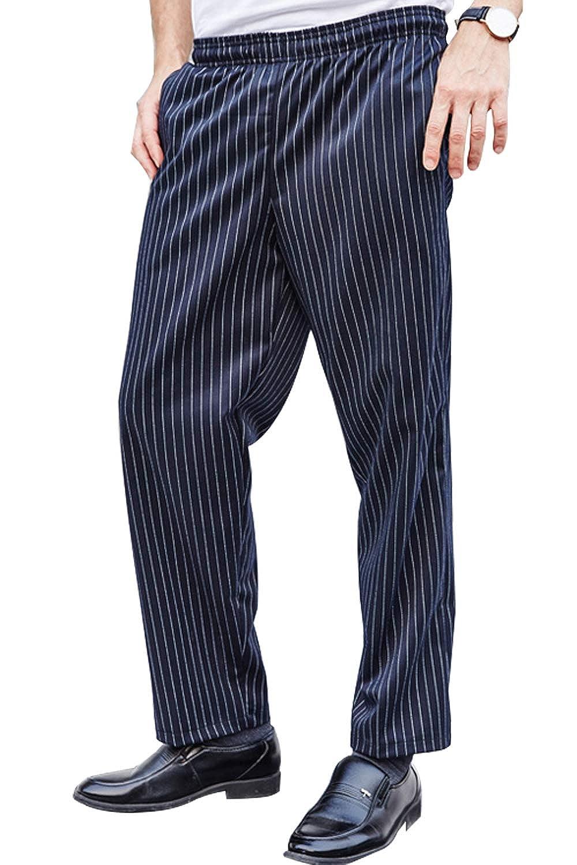 BOUPIUN Chef Pants Baggy Style Stripe Uniform Print Chefwear S-3XL 3 Colors