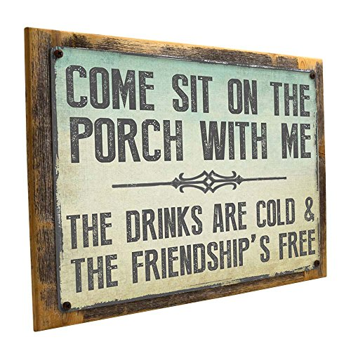 Cheap Homebody Accents Come Sit on the Porch Decorative Metal Sign (12″x16″ Framed)