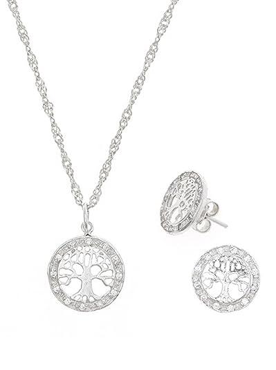 Córdoba Jewels   Conjunto de Gargantilla y Pendientes en Plata de Ley 925. Diseño Árbol de la Vida Zirconium