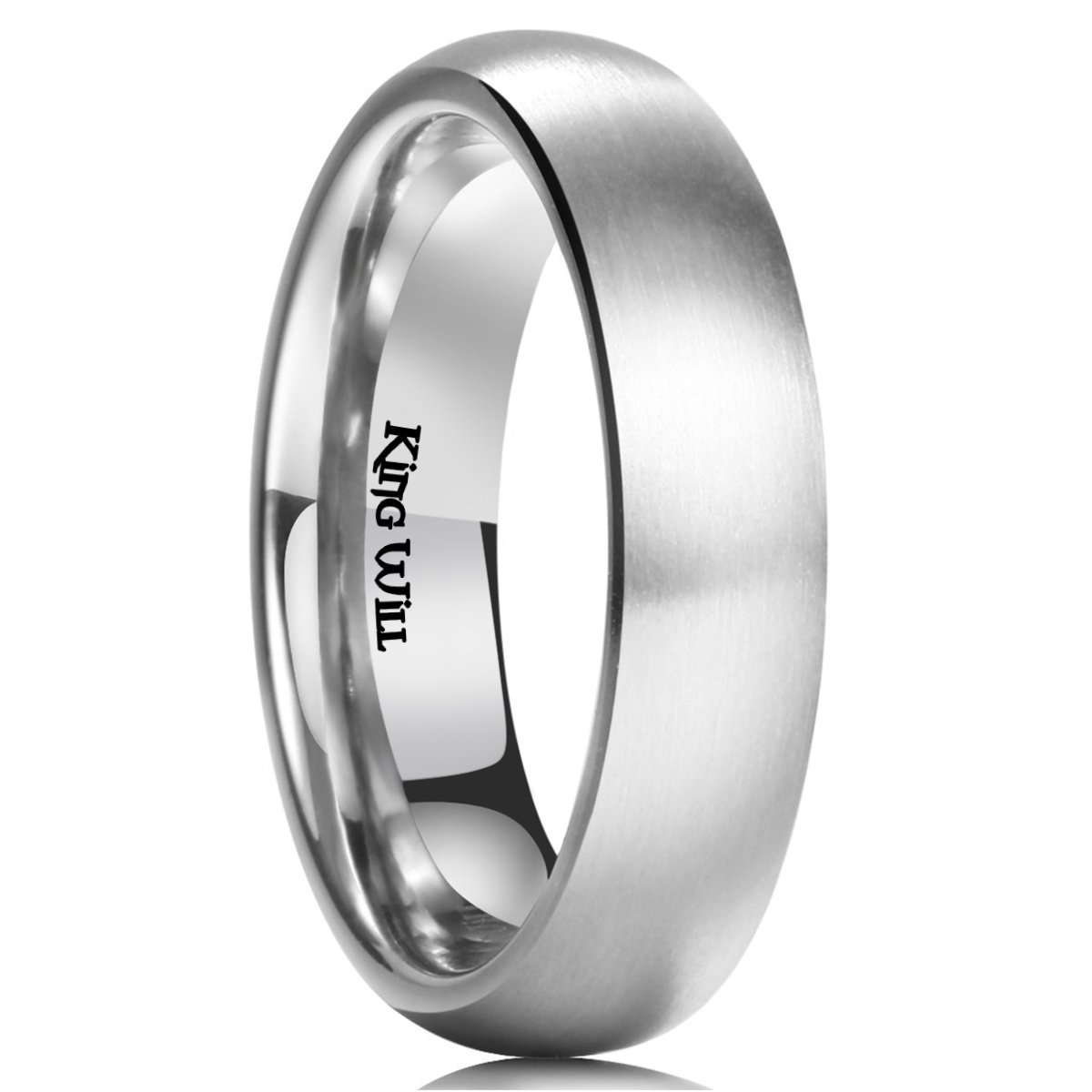 King Will Basic 5MM Titanium Ring Brushed/Matte Comfort Fit Wedding Band for Men 8