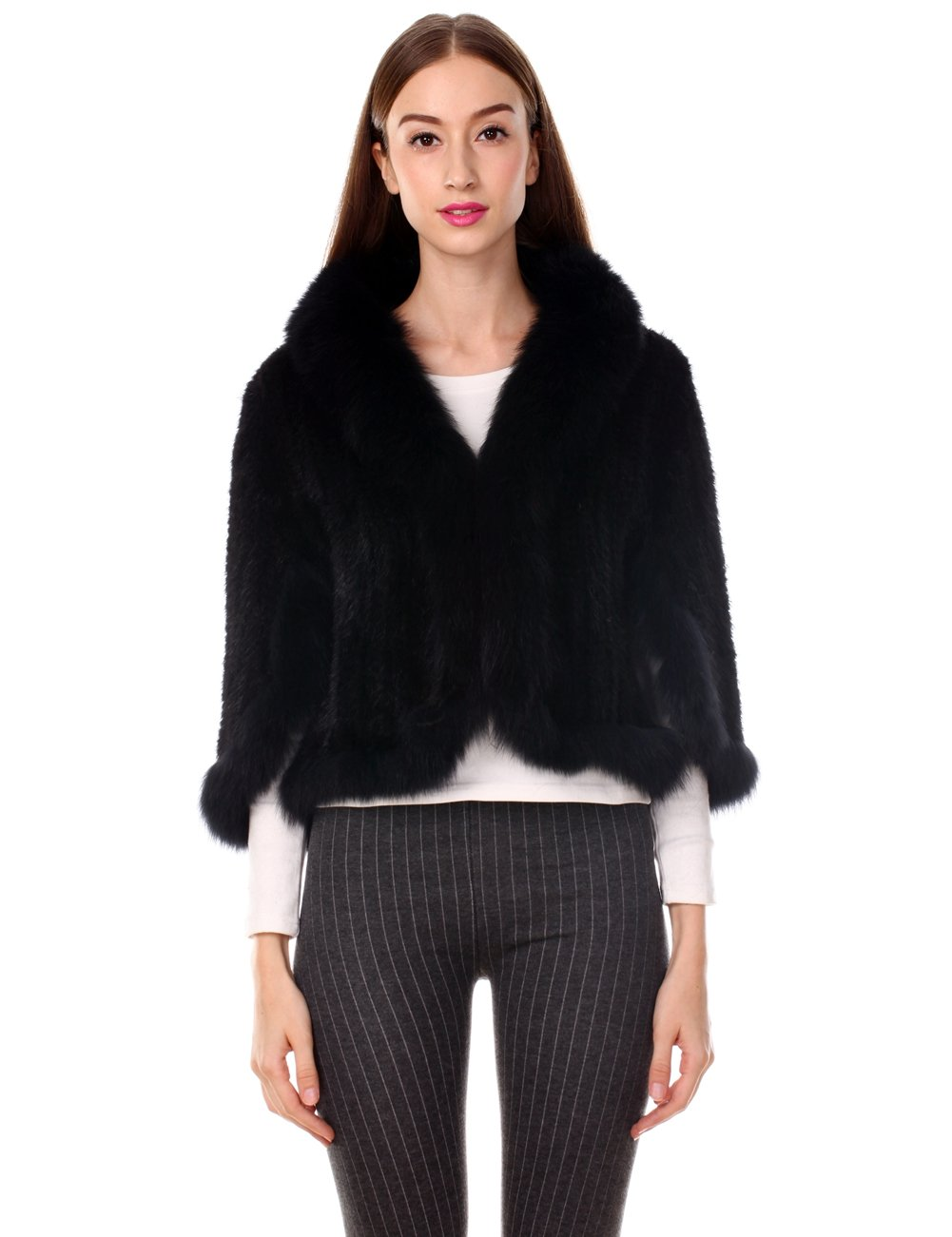 Ferand Real Knitted Mink Fur Stole with Fox Fur Collar, One Size Fits All for Women, Black