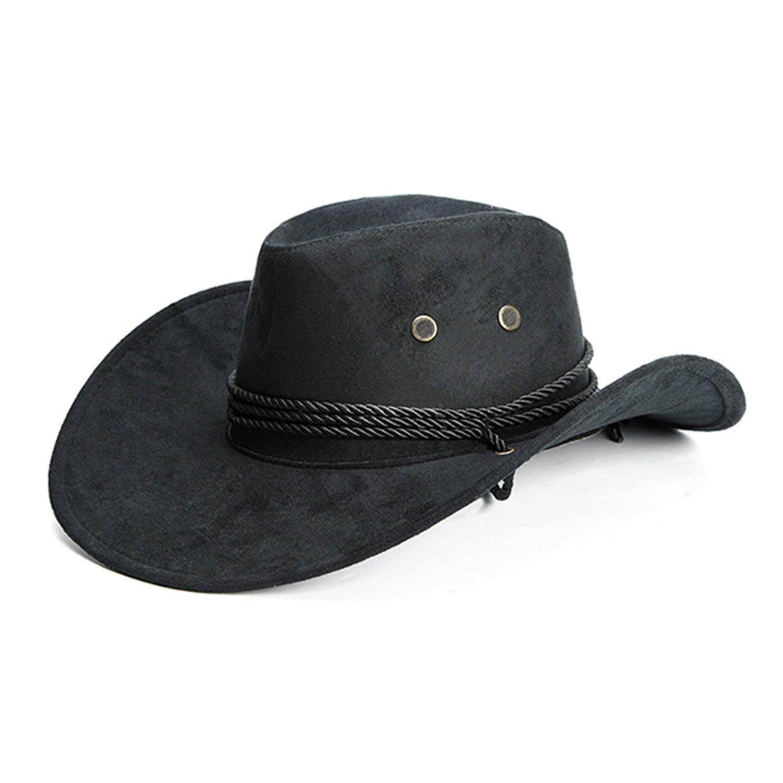 Pajamasea Men Cowboy Hat Wide Brim Jazz Cap Faux Leather Adjustable Sun Hat