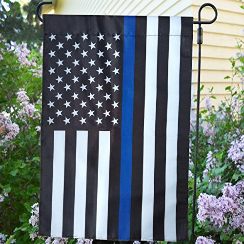 TopAAA Thin Blue Line Police American Garden Flag with Double Side Printing 12 x 18 inches -