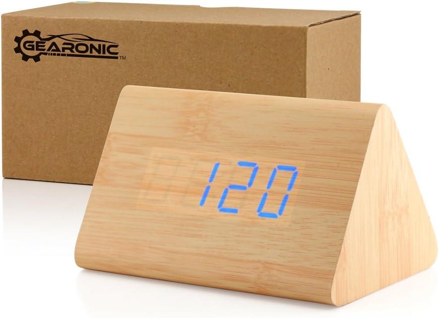 GEARONIC TM Modern Triangle Wood Clock Digital LED Wooden Alarm Clocks Digital Desk Thermometer Classical Timer Calendar - Bamboo